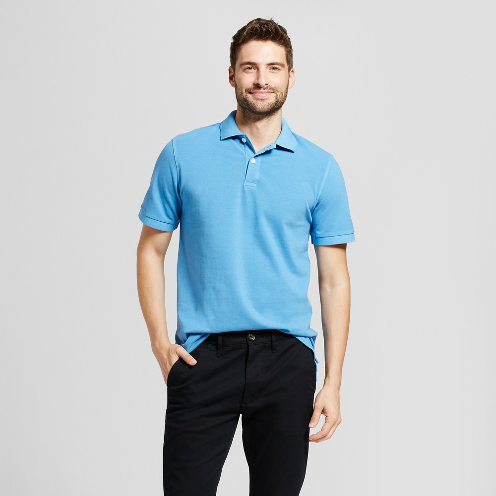 Mens Standard Fit Loring Polo Short Sleeve Collared Shirt - Goodfellow & Co Light Blue L