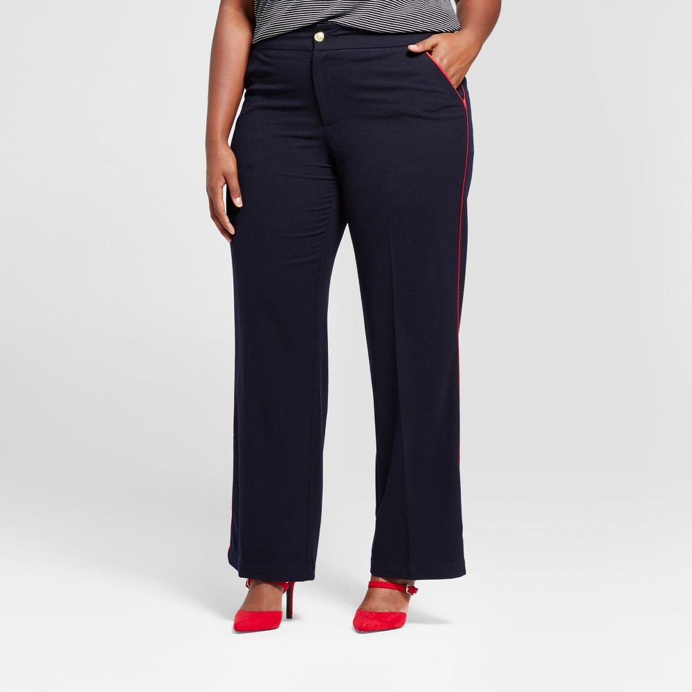 Womens Plus Size Straight Leg Side-Piped Trouser - A New Day Federal Blue 22W