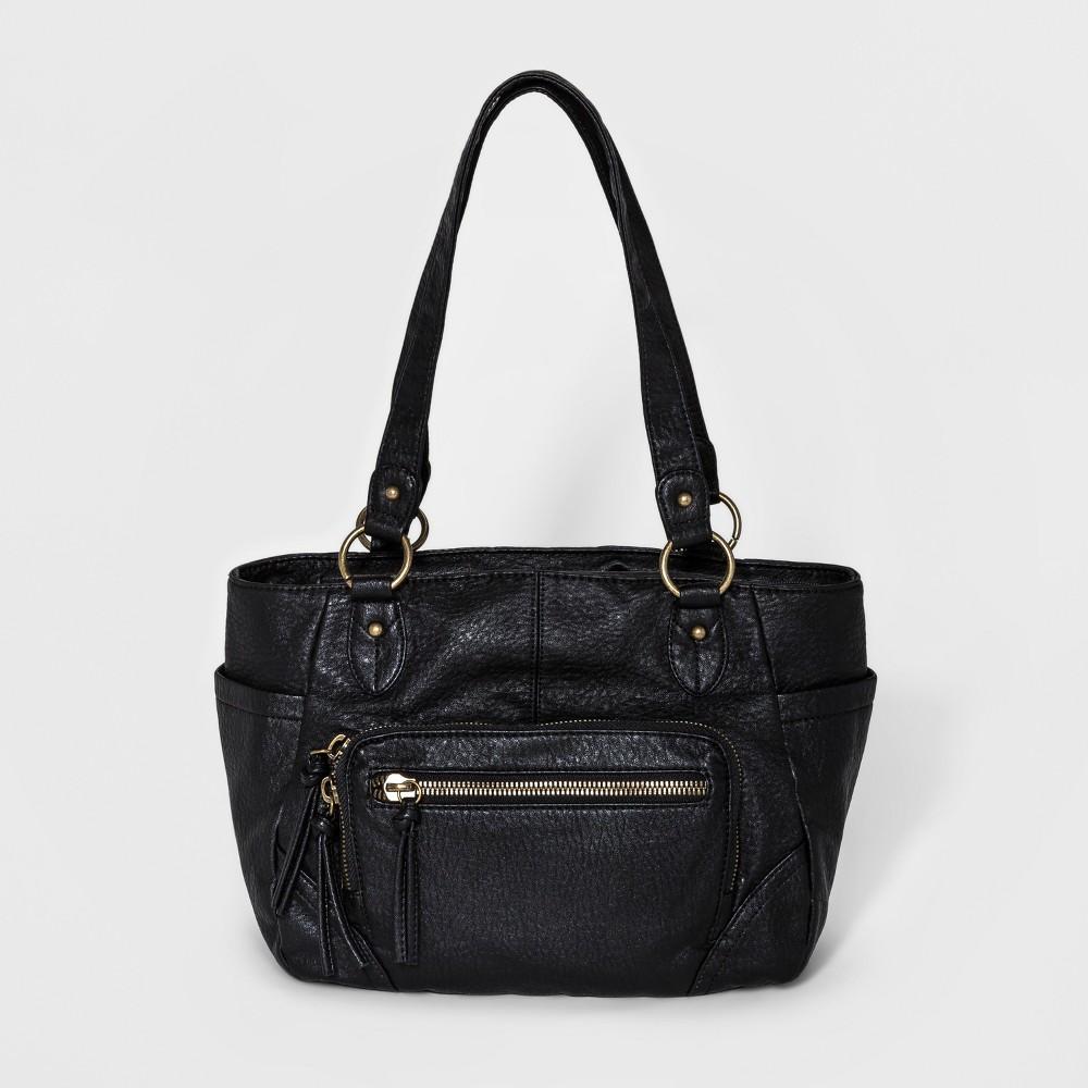 Bueno Womens Pebble Washed Tote Handbag - Black