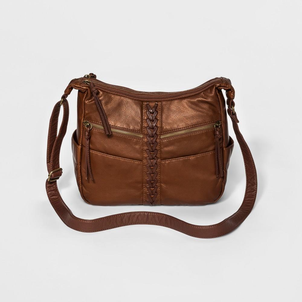Bueno Womens Laced Crossbody Handbag - Light Bronze