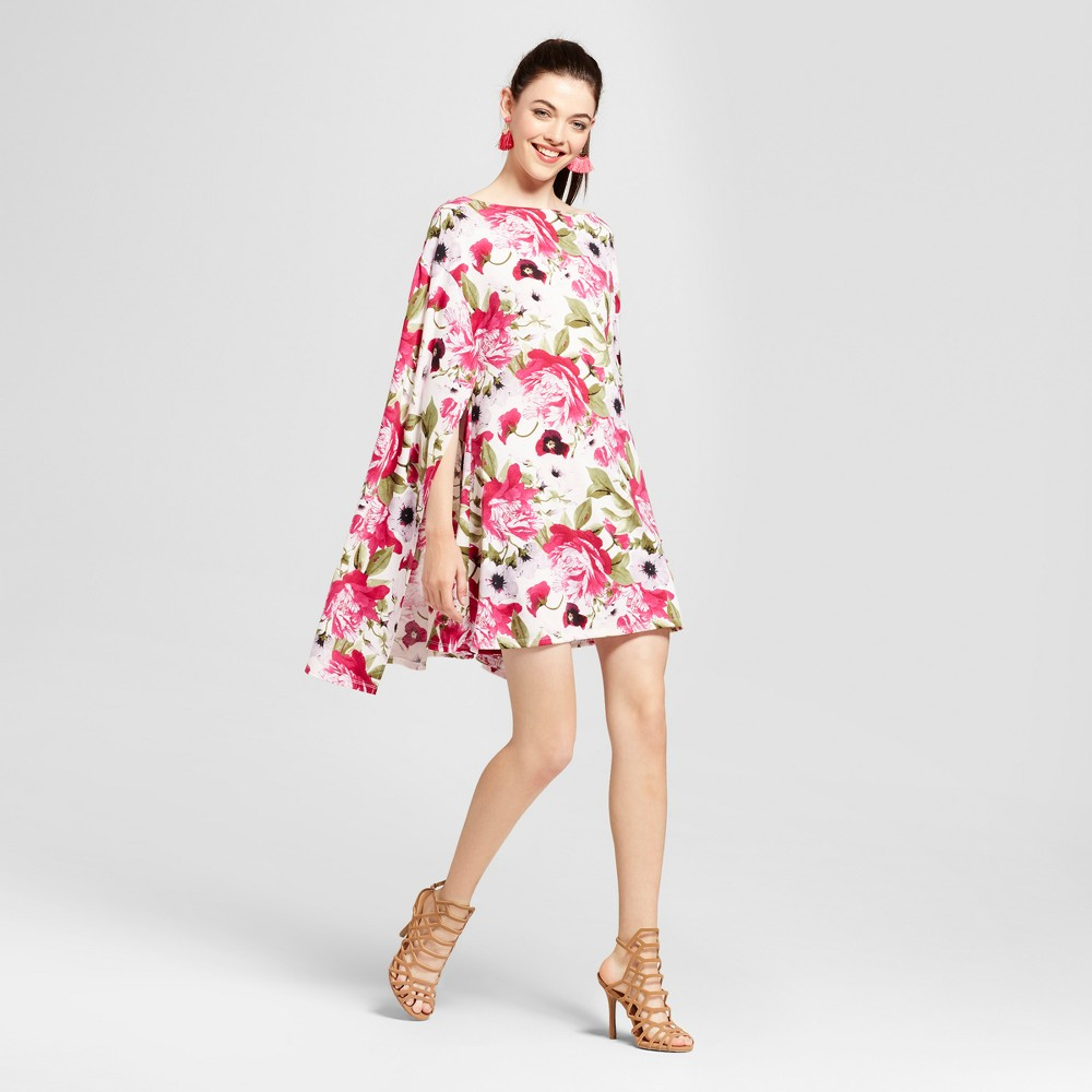Womens Floral Cape Shift Dress - Love @ First Sight (Juniors) L, Multicolored