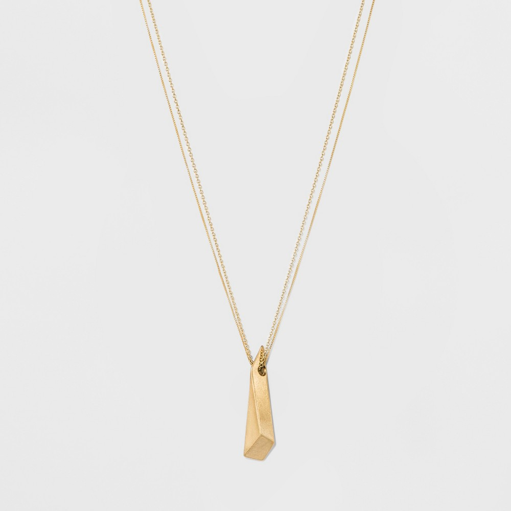 Womens Fashion Necklace Dimensional Architectural Pendant - Gold