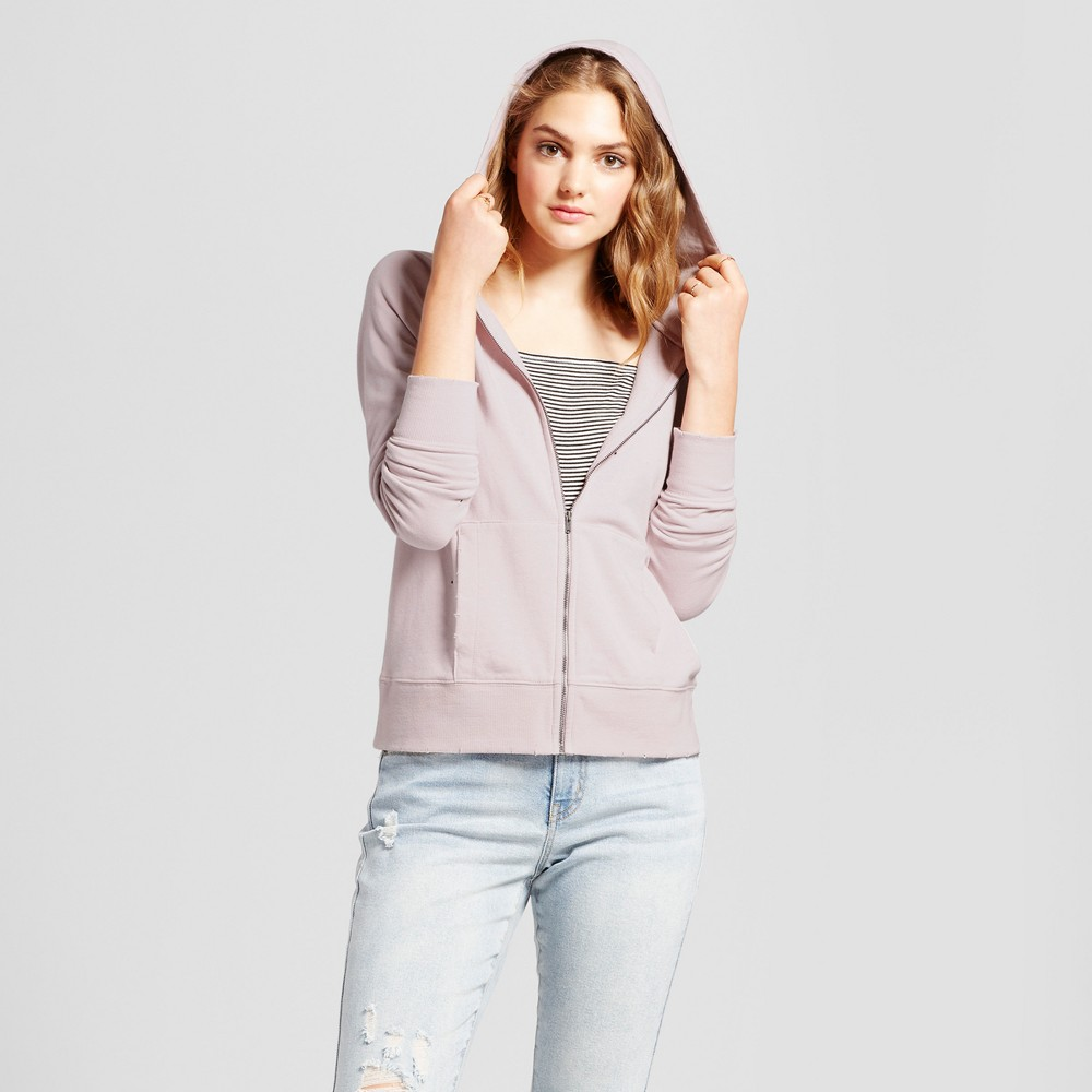 Womens Deconstructed Zip Up Hoodie - Mossimo Supply Co. Pink XS