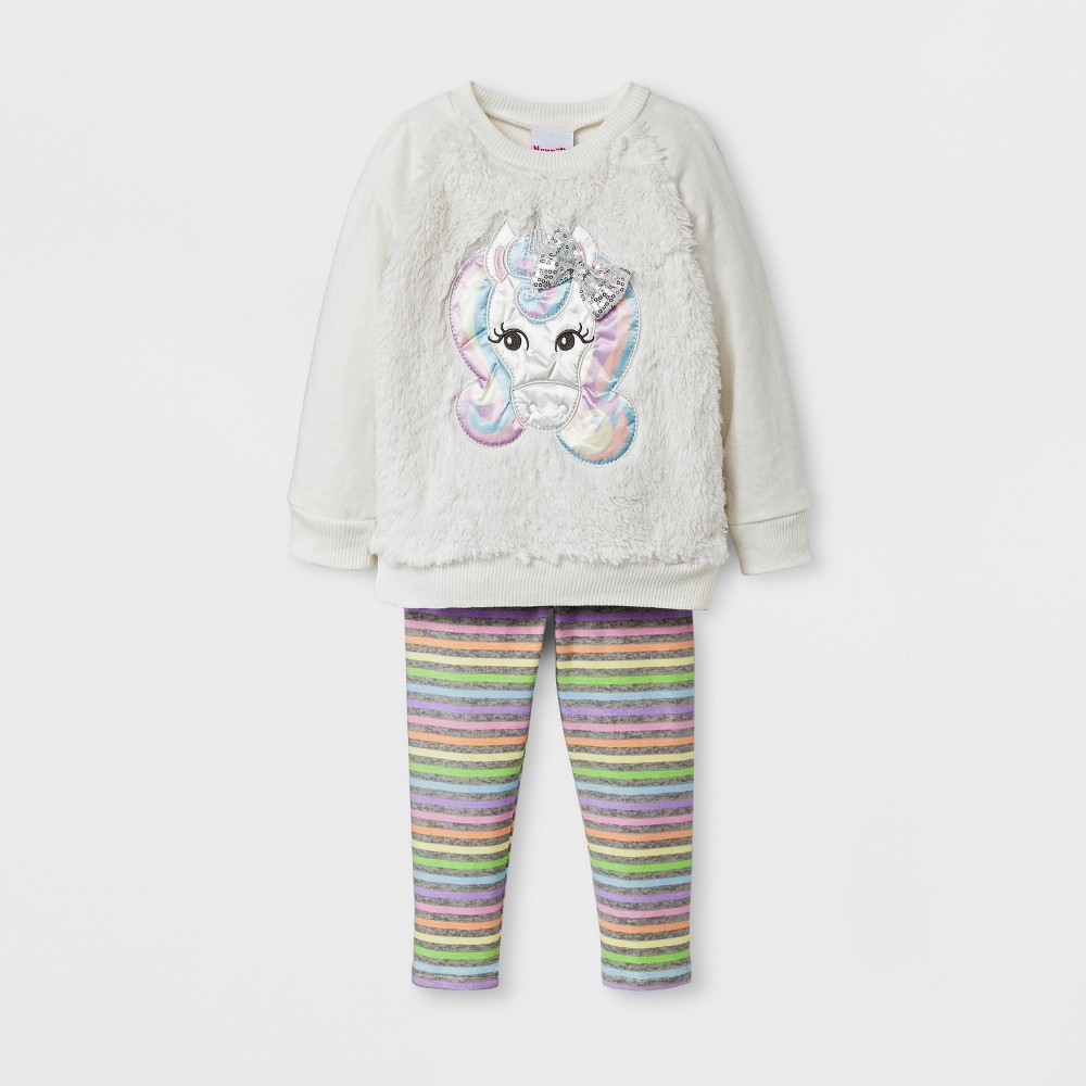 Toddler Girls Unicorn Top And Bottom Set Young Hearts - Off White 5T, Beige