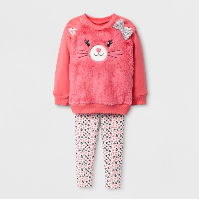 Toddler Girls' Cat Top And Bottom Set Young Hearts - Coral 3T