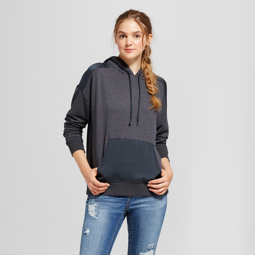 Womens Hoodie with Satin Detail - Mossimo Supply Co. Charcoal Gray XS