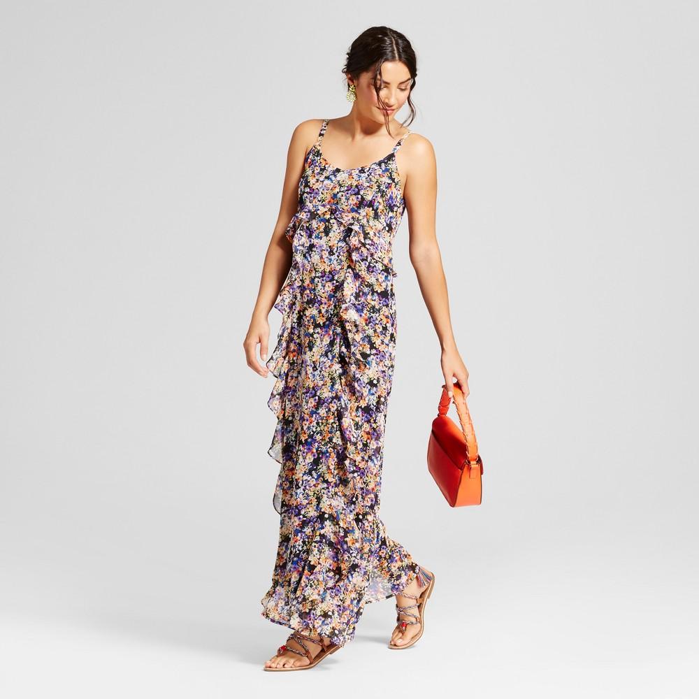 Womens Chiffon Printed Maxi Dress with Ruffle - Spenser Jeremy - Black 8