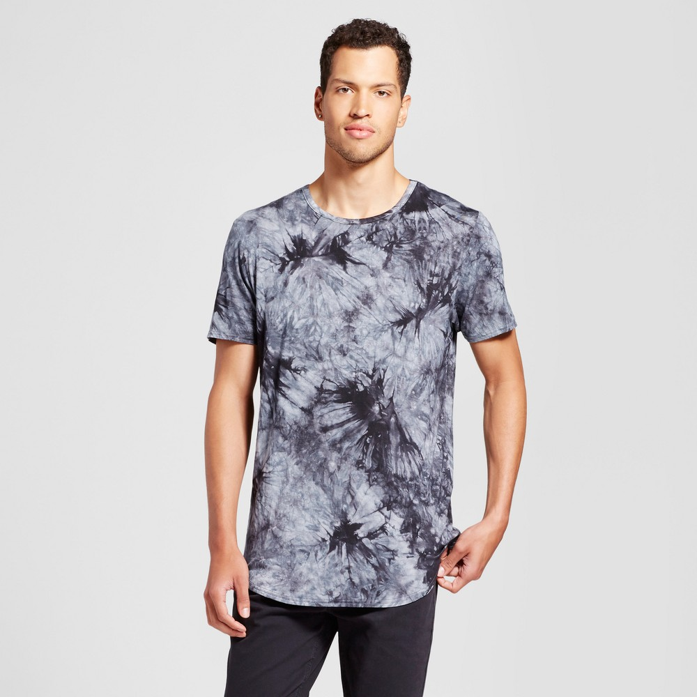 Mens Curved Hem Tie Dye T-Shirt - Jackson Charcoal (Grey) XL