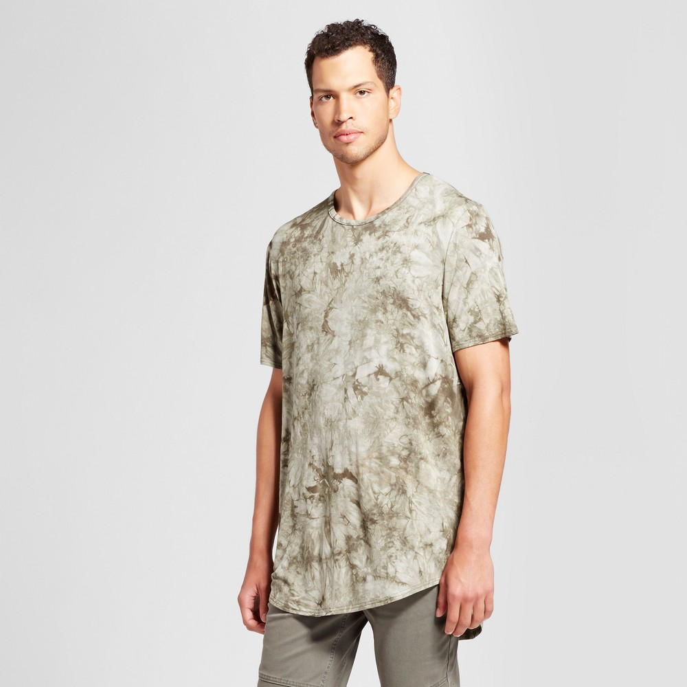 Mens Curved Hem Tie Dye T-Shirt - Jackson Olive (Green) L