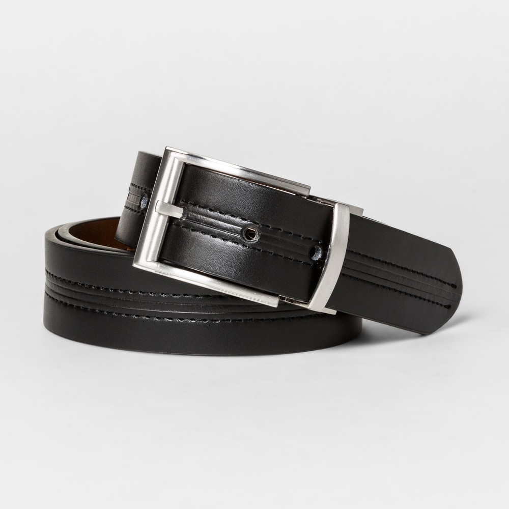 Mens 35mm Center Crease Line Reversible Belt - Goodfellow & Co - Black/Brown L, Black Brown