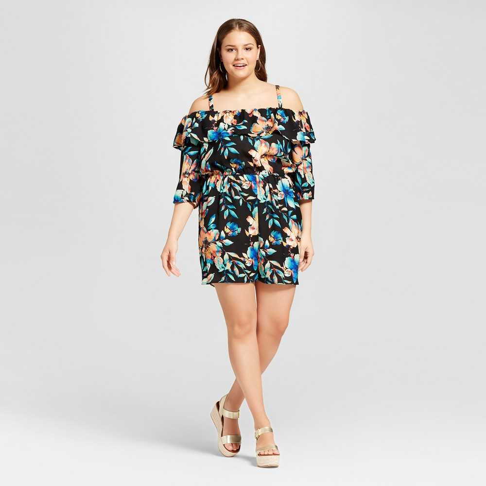 Womens Plus Size Floral Cold Shoulder Romper Black 3X - Lily Star (Juniors)