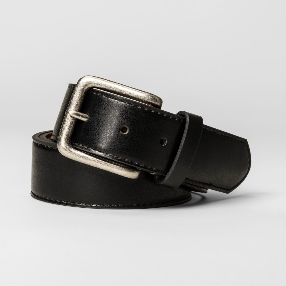 Mens 38mm Round Bevel Faux Leather Reversible Belt - Goodfellow & Co - Black L