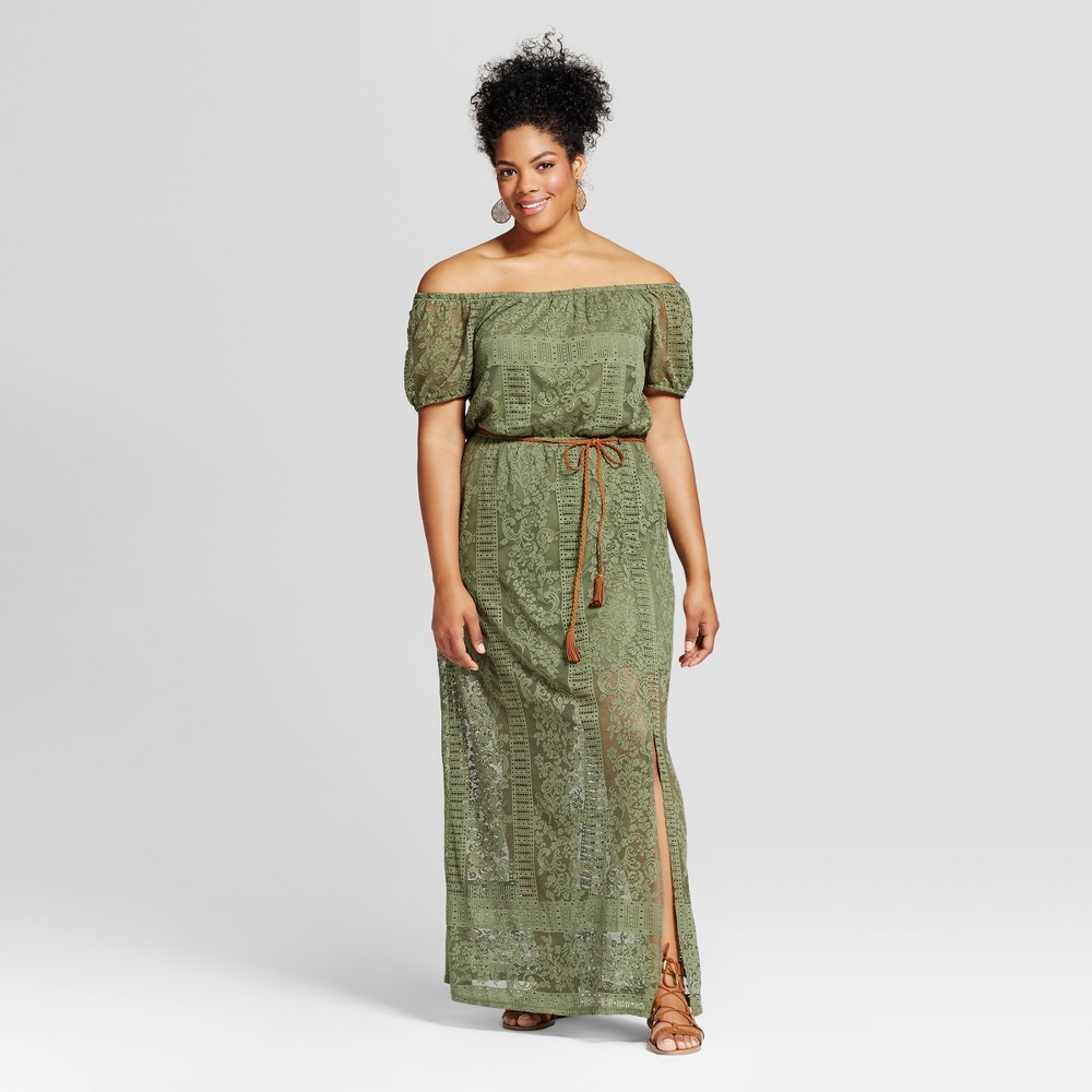 Womens Plus Size Belted Maxi Dress - Lily Star (Juniors) - Black 1X, Green