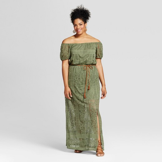 women's plus size belted maxi dress : target