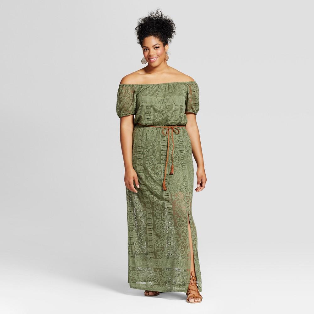 Womens Plus Size Belted Maxi Dress - Lily Star (Juniors) - Black 2X, Green