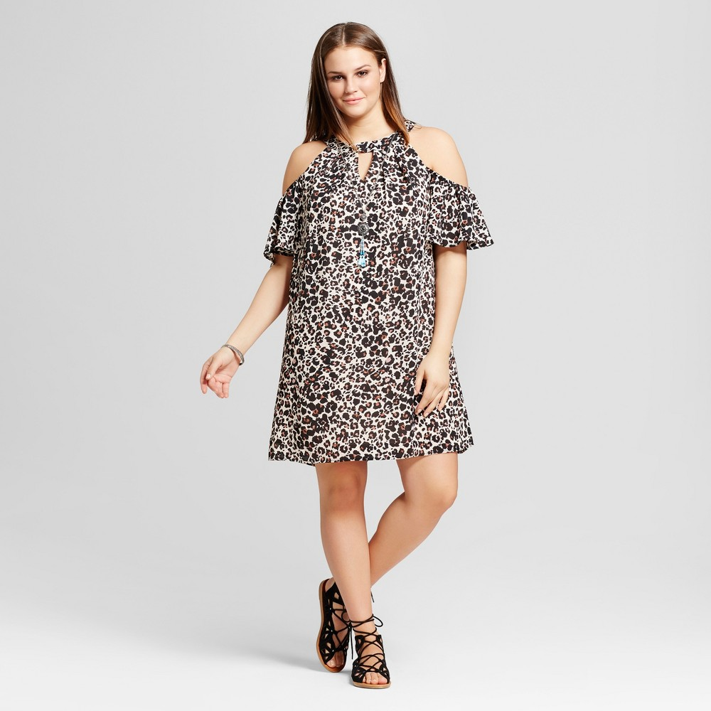 Womens Plus Size Leopard Print Cold Shoulder Dress - Lily Star (Juniors) - Brown Combo 1X