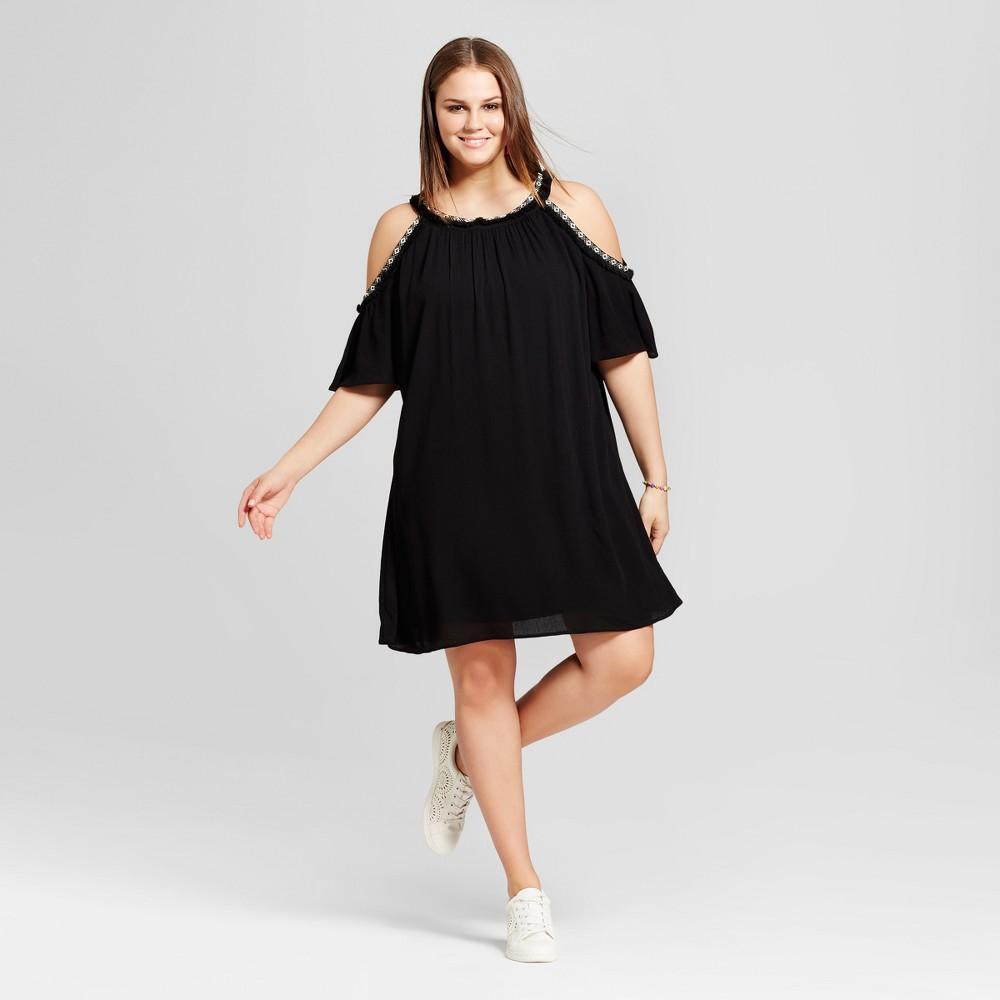 Womens Plus Size Crochet Cold Shoulder Dress - Lily Star (Juniors) - Black 2X