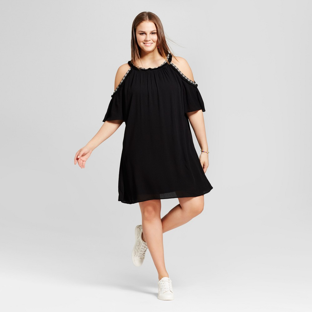 Womens Plus Size Crochet Cold Shoulder Dress - Lily Star (Juniors) - Black 3X