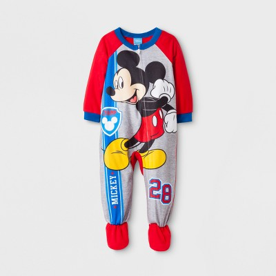 Baby Boys' Mickey Mouse Long Sleeve Footed Sleeper - Gray 12M