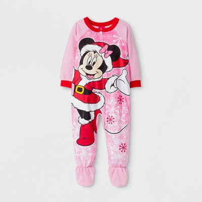 Baby Girls' Minnie Mouse Long Sleeve Footed Sleeper - Pink 24M