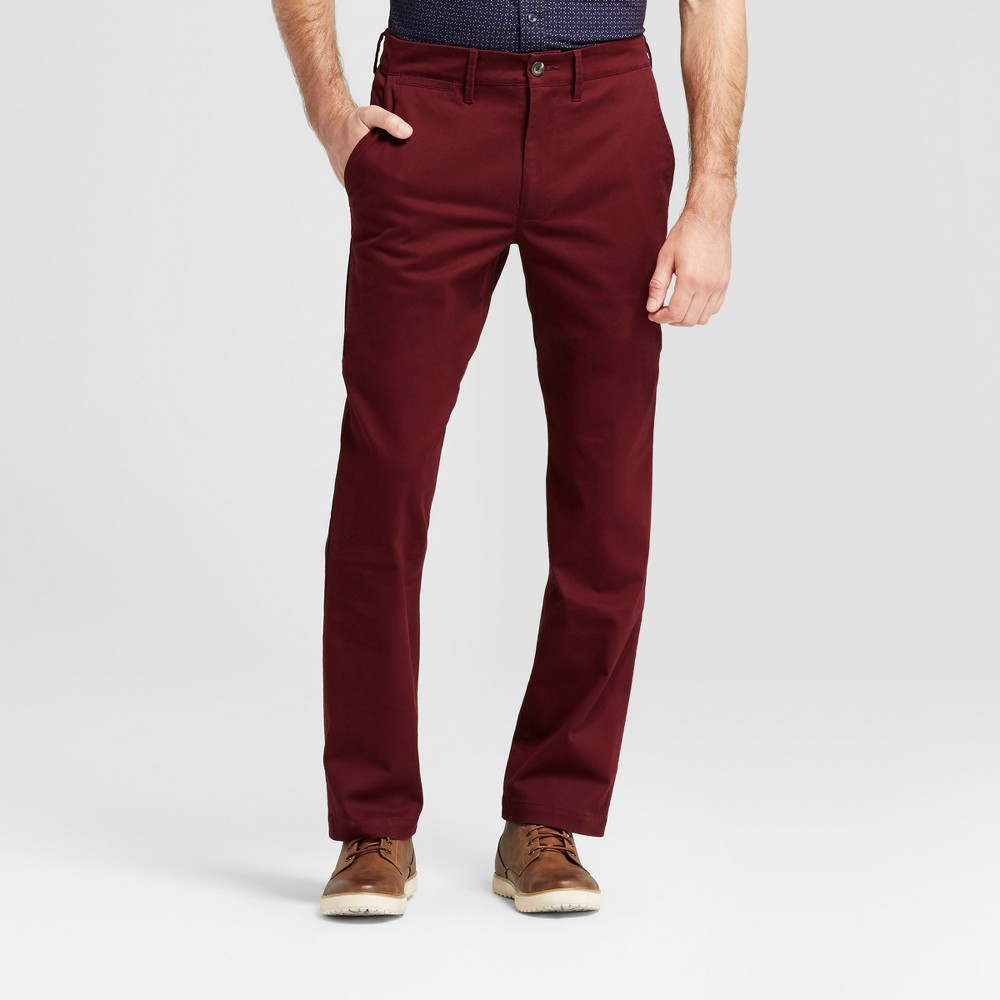 Mens Straight Fit Hennepin Chino Pants - Goodfellow & Co Burgundy (Red) 34X32