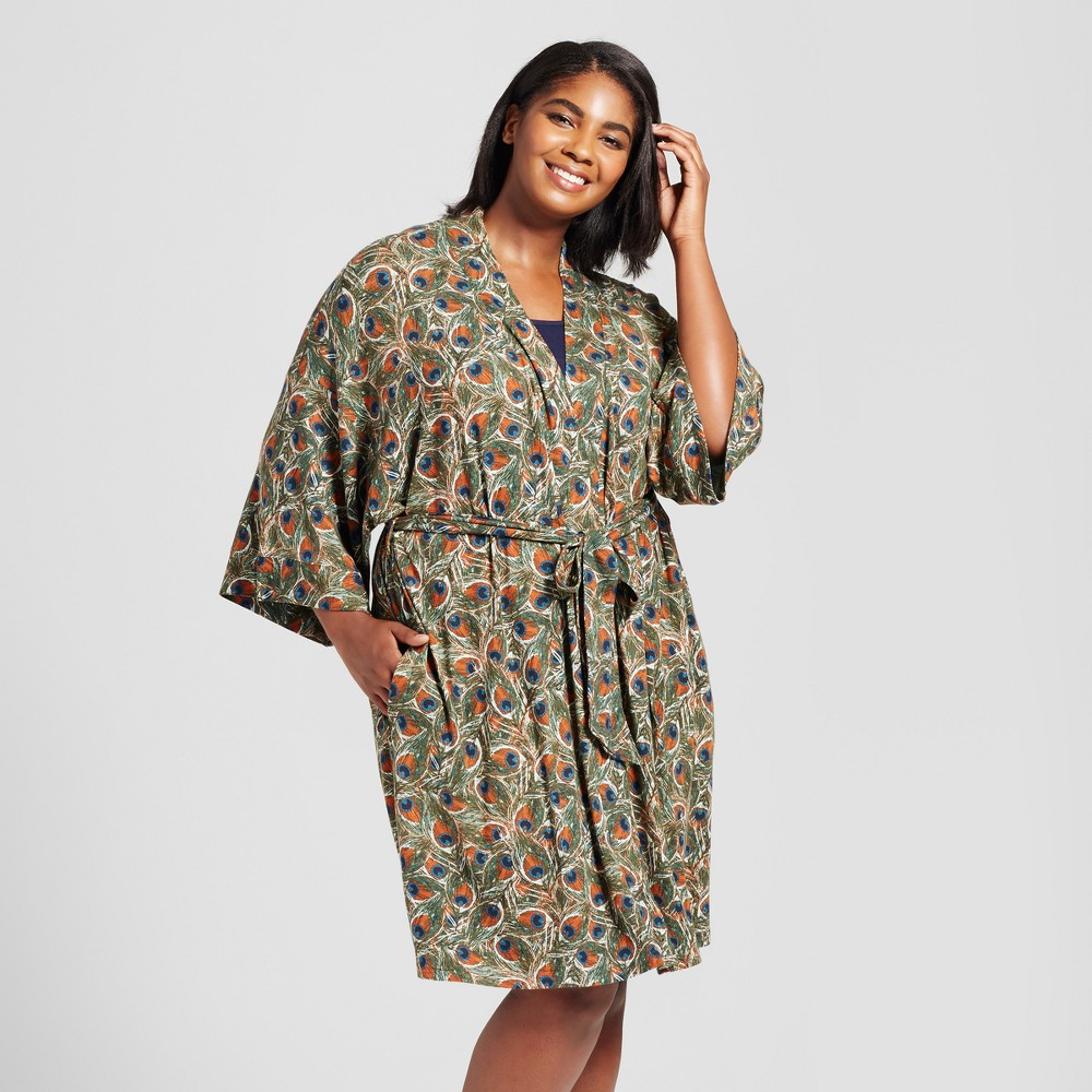 Womens Plus Size Robes Peacock 3X, Blue