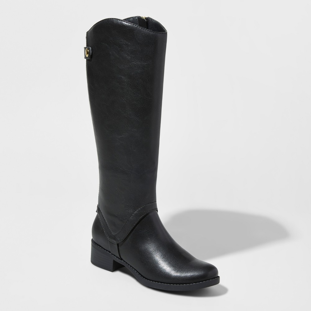 Womens Bridgitte Wide Calf Tall Riding Boots Merona Black 12WC, Size: 12 Wide Calf