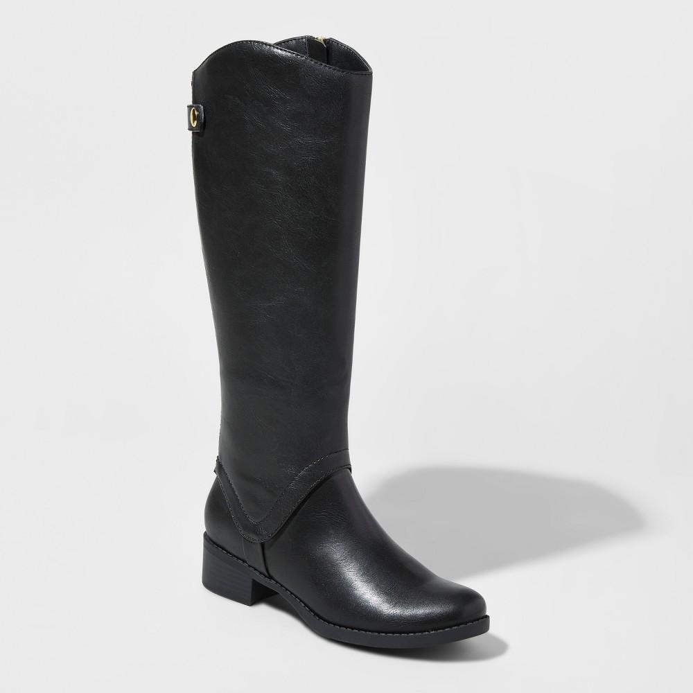 Womens Bridgitte Wide Calf Tall Riding Boots Merona Black 8WC, Size: 8 Wide Calf