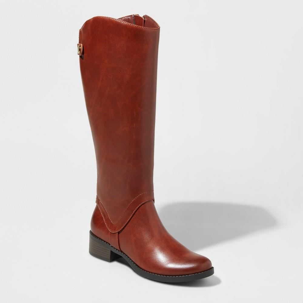 Womens Bridgitte Tall Riding Boots Merona Cognac (Red) 6