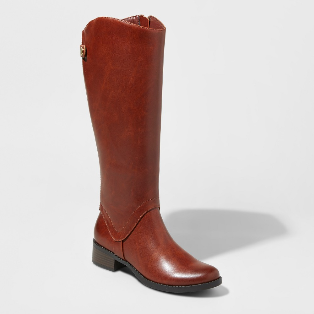 Women's Bridgitte Tall Riding Boots Merona Cognac (Red) 9