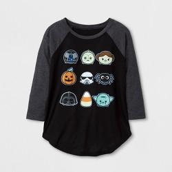 Girls' Star Wars Halloween Long Sleeve Raglan T-Shirt - Black/Charcoal Heather