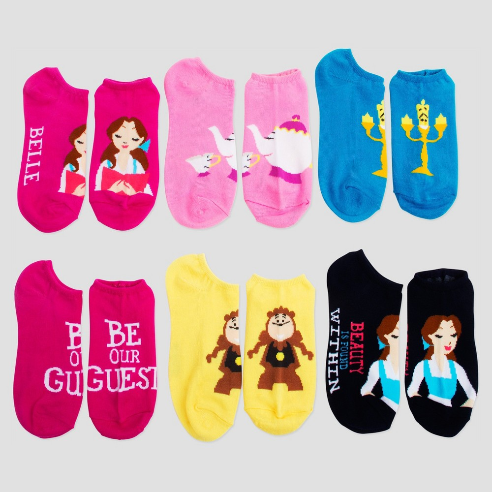 Womens No-Show 6pk Low-Cut Socks Beauty and the Beast - Multicolor 9-11, Multi-Colored