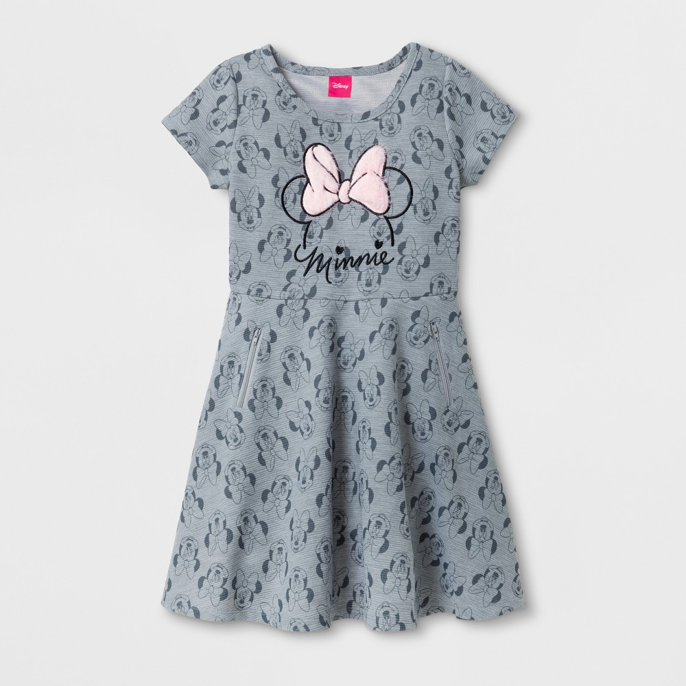 Girls Minnie Mouse Skater Dresses - Heather Gray - XS (4-5)