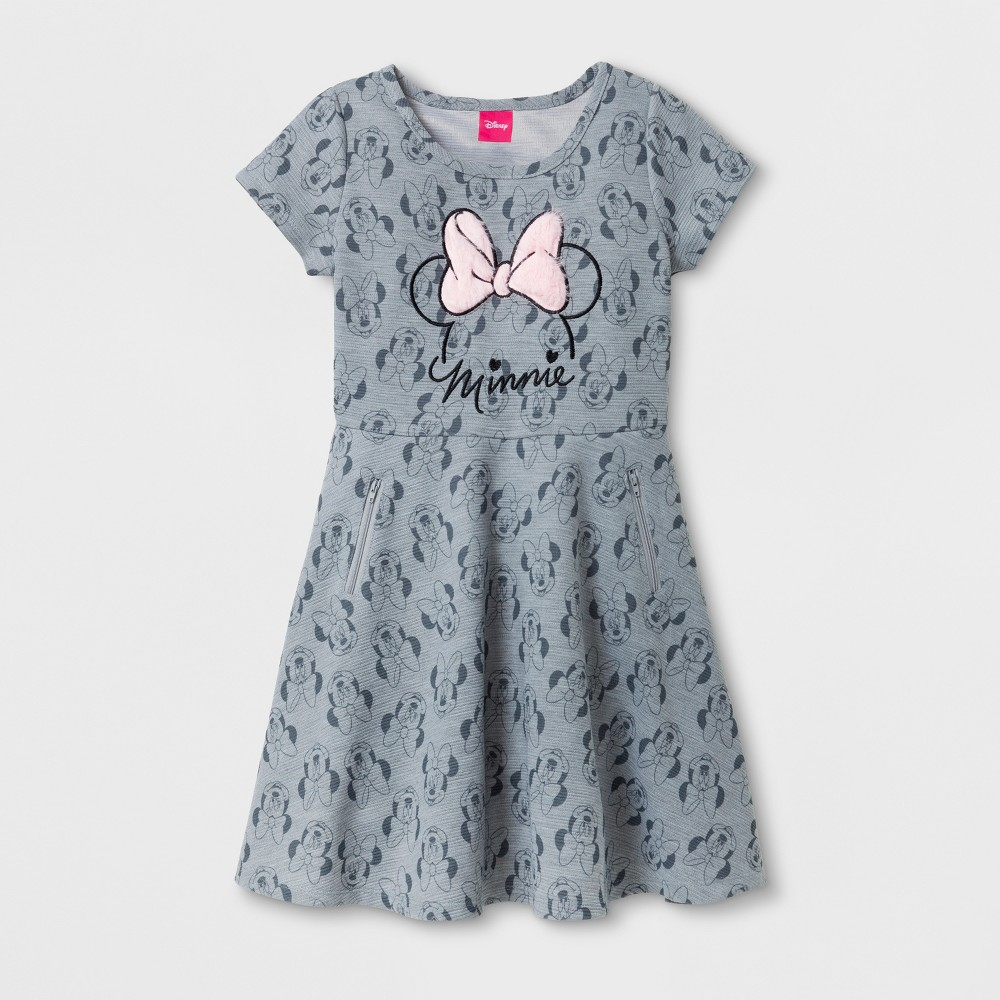 Girls Minnie Mouse Skater Dresses - Heather Gray - M (7-8)