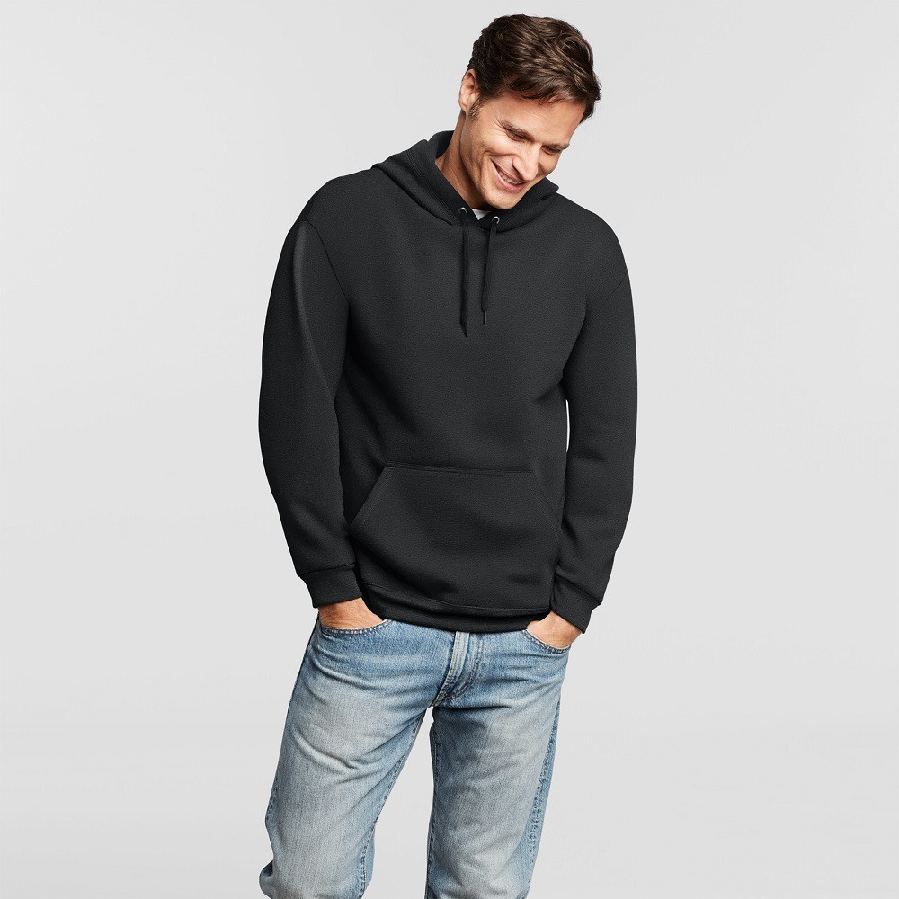 Mens Hanes Premium Fleece Pullover Hood With Fresh IQ - Black S