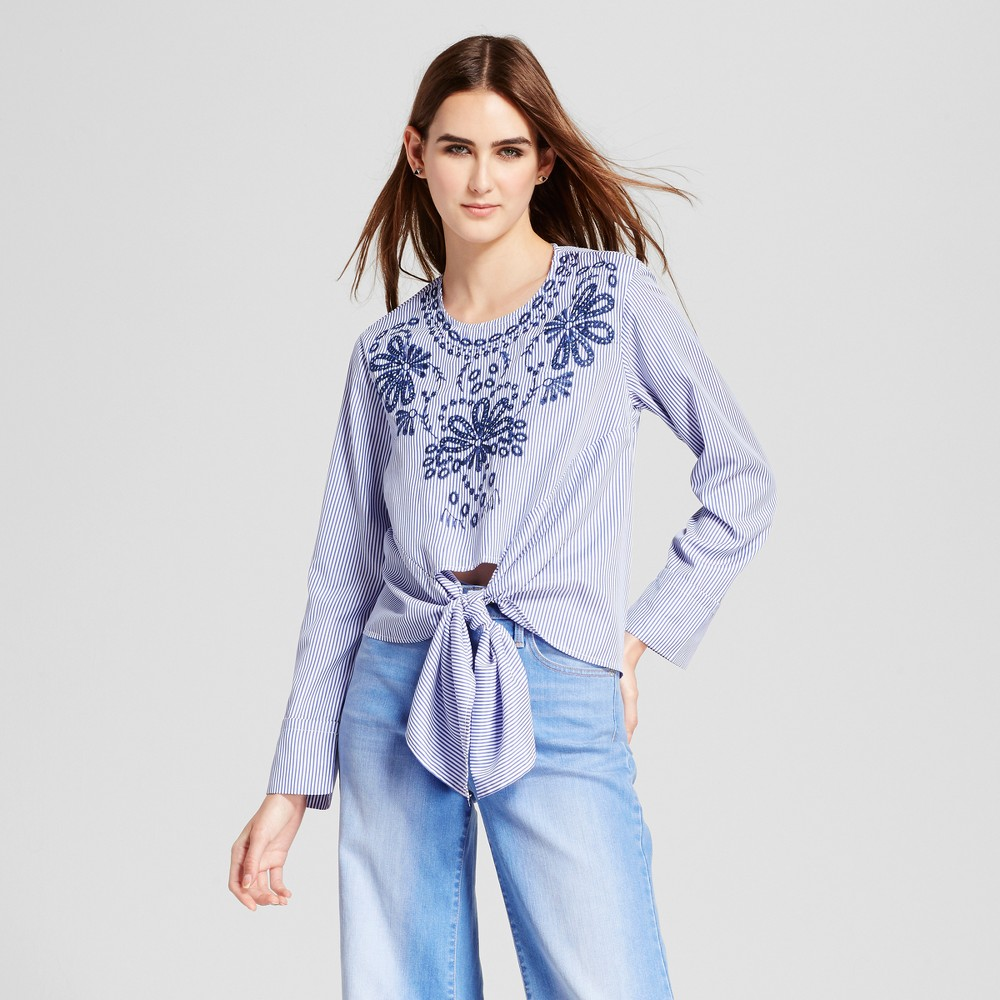 Womens Embroidered Tie Front Blouse - Cliché Blue XL