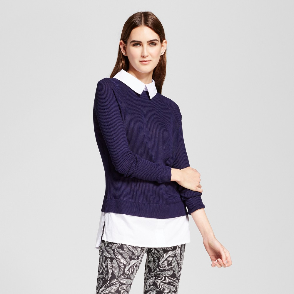 Womens Knit to Woven Collared Top - Cliché Blue/White L