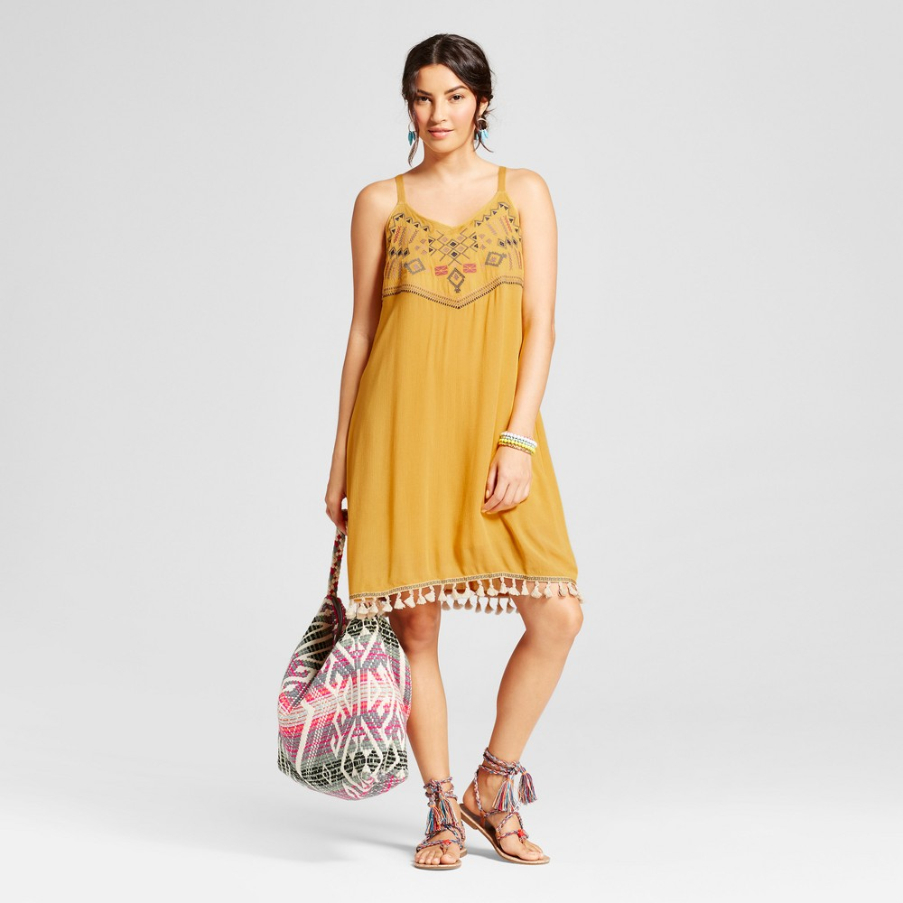 Womens Embroidered Tank Dress with Pom Pom Hem - Spenser Jeremy - Honey 10, Brown