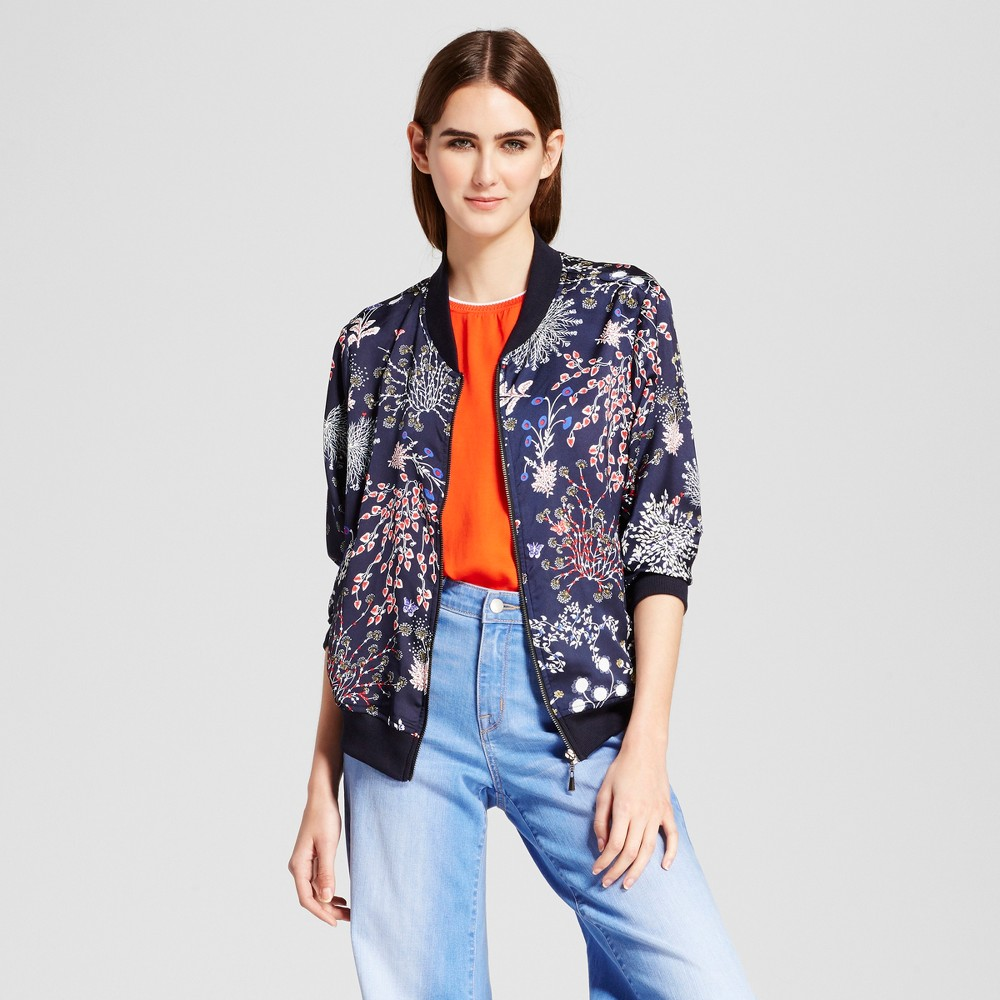 Womens Printed Bomber Jacket - Cliché Navy XS, Blue