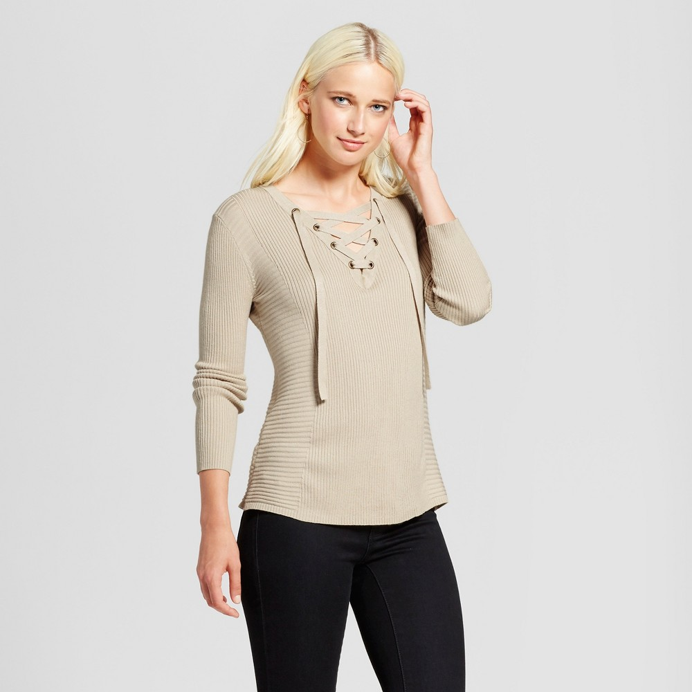 Womens Lace-Up Sweater - Cliché Tan S, White