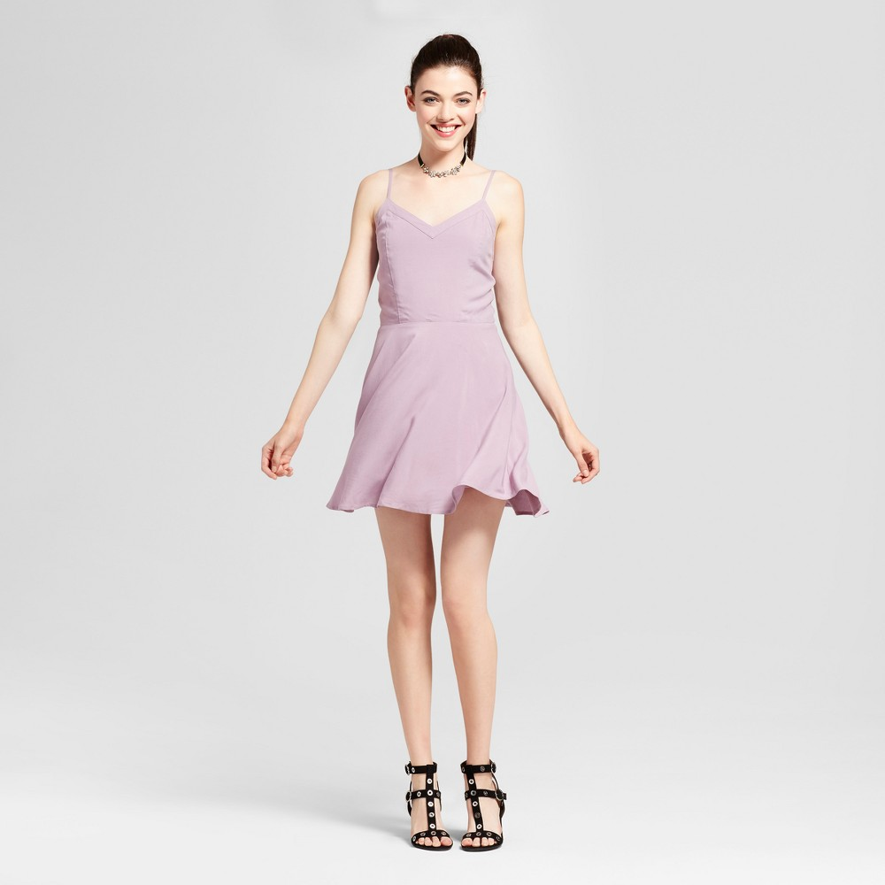 Womens Lattice Back Skater Dress - Love @ First Sight (Juniors) Purple L