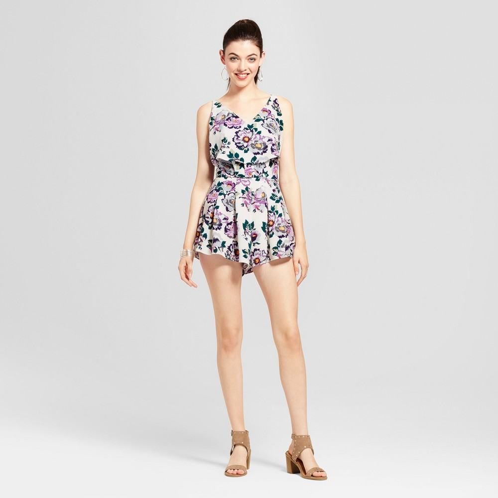Womens Floral Ruffle Tank Romper - Love @ First Sight (Juniors) S, Multicolored