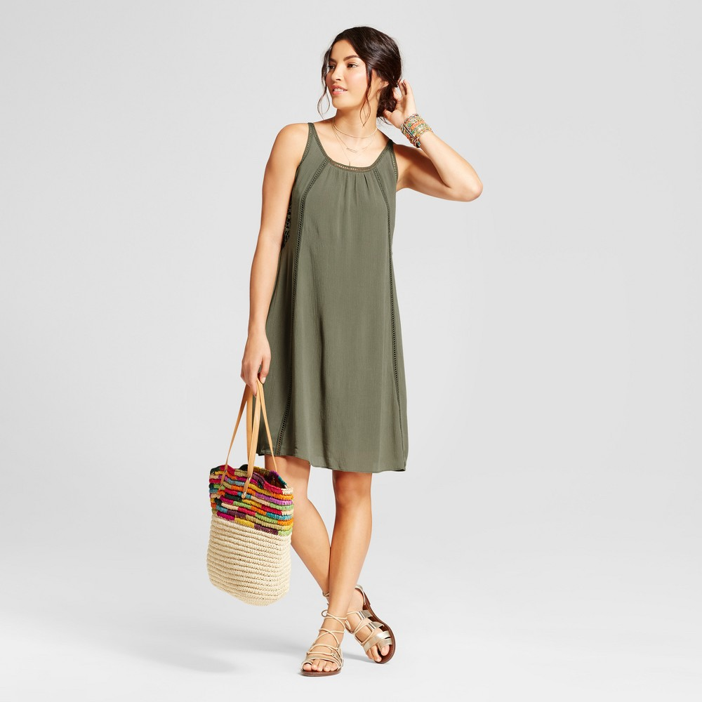Womens Trapeze Tank Dress with Lace Insets - Spenser Jeremy - Sage Green 8
