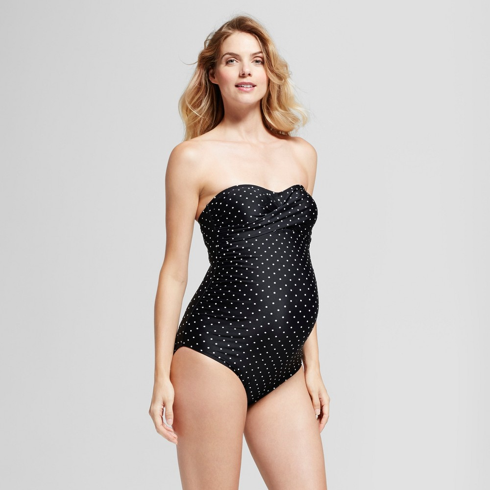 Maternity Dotted Bandeau One Piece Swimsuit - Isabel Maternity by Ingrid & Isabel Black S, Womens