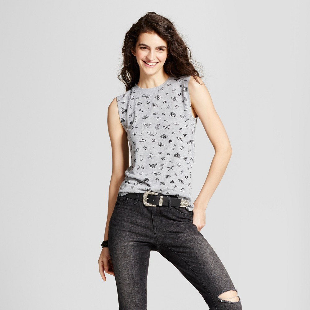 Womens Doodle Hacci Graphic Tank Top Gray XS - Modern Lux (Juniors)
