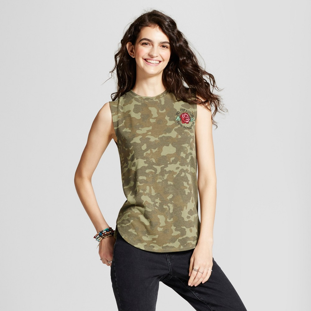 Womens No Chance for Romance Hacci Graphic Tank Top Camo Green S - Modern Lux (Juniors)