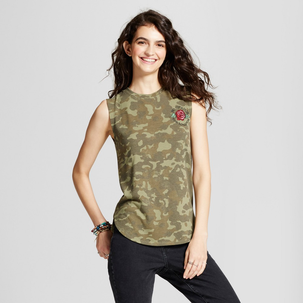 Womens No Chance for Romance Hacci Graphic Tank Top Camo Green M - Modern Lux (Juniors)