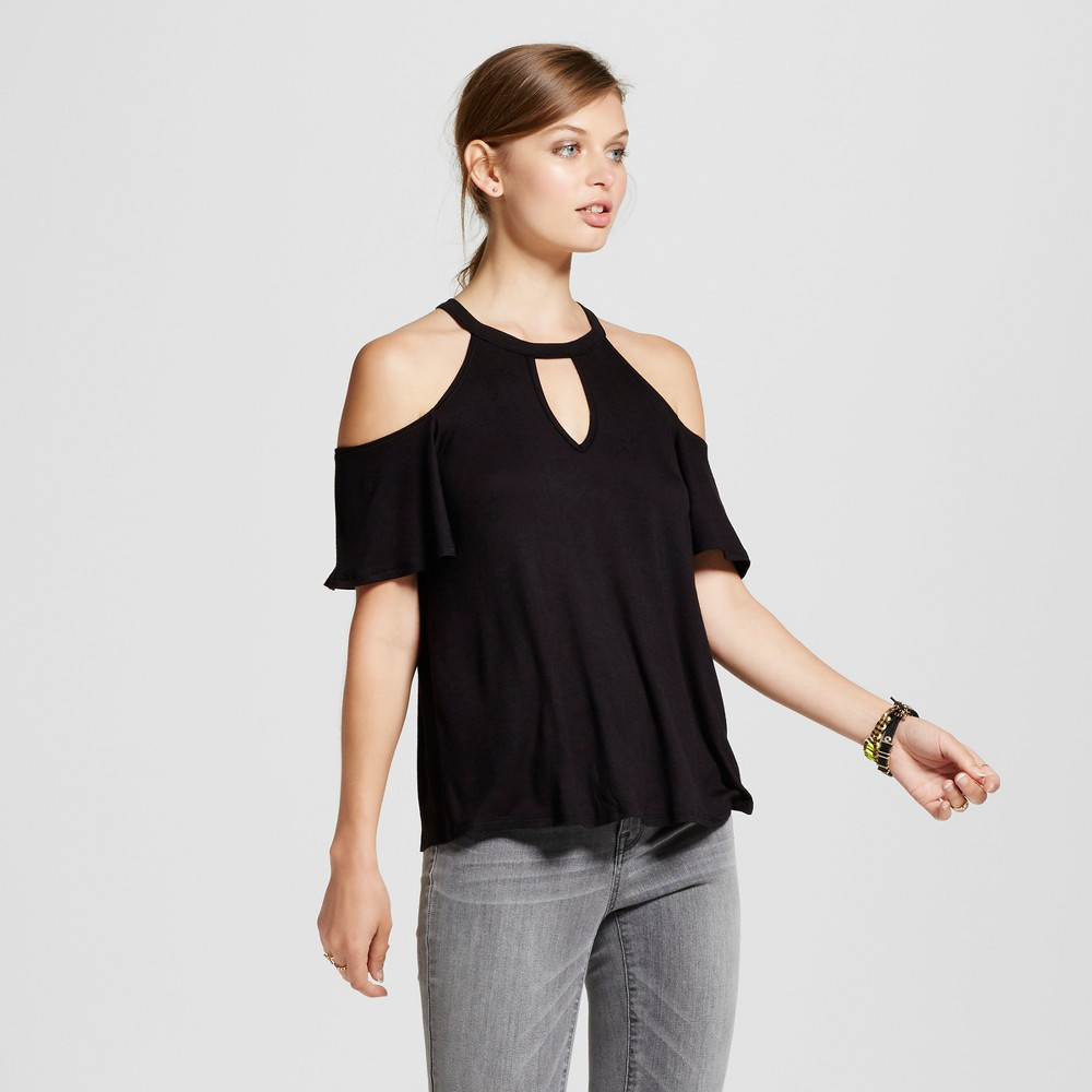 Womens High Neck Cut Out Short Sleeve Top - Soul Cake (Juniors) Black M