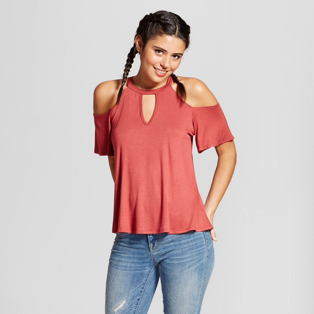 Womens High Neck Cut Out Short Sleeve Top - Soul Cake (Juniors) Red L