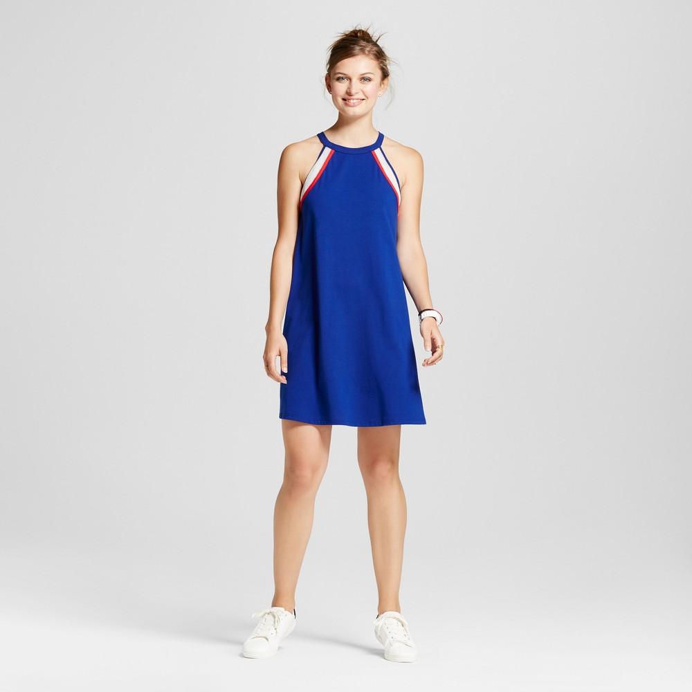 Womens High Neck Colorblock Halter Dress - Soul Cake (Juniors) Blue XL